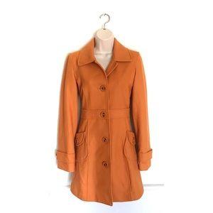 Anthropologist Tulle Orange Wool Pea Coat